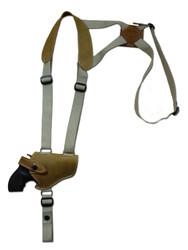 "New Olive Drab Leather Horizontal Cross Harness Shoulder Gun Holster for 2"" Snub Nose Revolvers (63/2OD)"