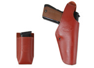 New Burgundy Leather OWB Side Gun Holster + Single Magazine Pouch for Full Size 9mm 40 45 Pistols (#C15BU)