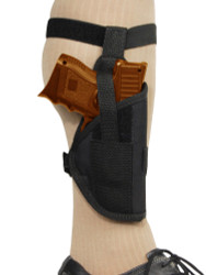 New Ankle Gun Holster for Compact, Sub-Compact 9mm 40 45 Pistols with LASER (07/1L)