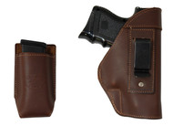 New Brown Leather Inside the Waistband Gun Holster + Single Magazine Pouch for Compact Sub-Compact 9mm 40 45 Pistols with LASER (#C68-22BRL)