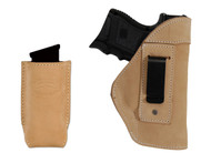 New Natural Tan Leather Inside the Waistband Gun Holster + Single Magazine Pouch for Compact Sub-Compact 9mm 40 45 Pistols with LASER (#C68-22NTL)