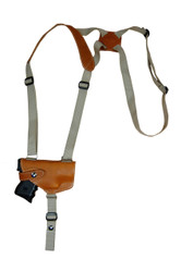 New Saddle Tan Leather Horizontal Cross Harness Shoulder Gun Holster for Compact 9mm 40 45 Pistols with LASER (22HORSTL)