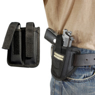 New Ambidextrous Pancake Gun Holster + Double Magazine Pouch for Mini/Pocket .22 .25 .32 .380 Pistols with LASER (#LC34s)