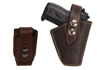 New Brown Leather OWB Belt Gun Holster + Single Magazine Pouch for Mini .22 .25 .32 .380 Pistols with LASER (#LC10BR)