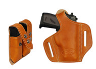 New Saddle Tan Leather Pancake Gun Holster + Magazine Pouch for Mini/Pocket .22 .25 .32 .380 Pistols with LASER (#LC57sST)