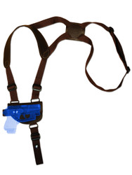 New Brown Leather Horizontal Cross Harness Shoulder Gun Holster for Mini/Pocket .22 .25 .32 .380 Pistols with LASER (#L49HORBR)