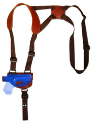 New Burgundy Leather Horizontal Cross Harness Shoulder Gun Holster for Mini/Pocket .22 .25 .32 .380 Pistols with LASER (#L49HORBU)