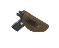 New Olive Drab Leather Inside the Waistband Gun Holster for .380 Ultra Compact 9mm .40 .45 Pistols with LASER (#L68-42OD)