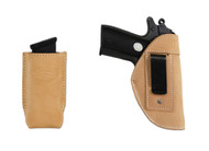 New Natural Tan Leather Inside the Waistband Gun Holster + Magazine Pouch for .380 Ultra Compact 9mm .40 .45 Pistols with LASER (#LC68-42NT)