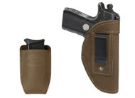 New Olive Drab Leather Inside the Waistband Gun Holster + Magazine Pouch for .380 Ultra Compact 9mm .40 .45 Pistols with LASER (#LC68-42OD)