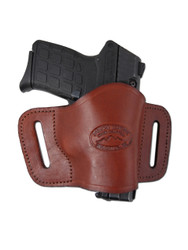 New Burgundy Leather Belt Quick Slide Gun Holster for Small .380 Ultra Compact 9mm .40 .45 Pistols with LASER (#L108SCBU)