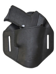 New Black Leather Pancake Belt Slide Gun Holster for .380 Ultra Compact 9mm .40 .45 Pistols with LASER (#L222/3BL)
