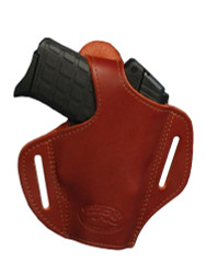New Burgundy Leather Pancake Gun Holster for Small .380, Ultra Compact 9mm .40 .45 with LASER (#L57BU)