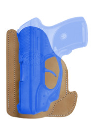 New Natural Tan Leather Concealment Pocket Gun Holster for Compact 9mm .40 .45 Pistols with LASER (#LPO22NT)