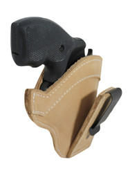 "New Tan Leather Tuckable IWB Holster for Snub Nose 2"" 22 38 357 41 44 Revolvers"