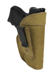 New Olive Drab Leather Tuckable IWB Holster for Compact Sub-Compact 9mm .40 .45 Pistols (TU68-22OD)