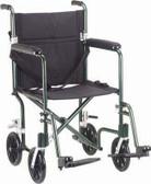 Green Lightweight Aluminum Transport Wheelchair 17-inch Seat