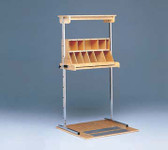 Work Hardening Adjustable Height Shelf Assembly and Sorting Bin