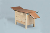 Enclosed Wooden Exam Table with 3-Section Top, Drawer