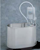 Stationary Whirlpool with Pedestal is recommended for treatment of the foot, ankle and leg, to below the knee, with better coverage and greater patient comfort.