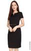 Notch Neck Pencil Dress - Dotted Black