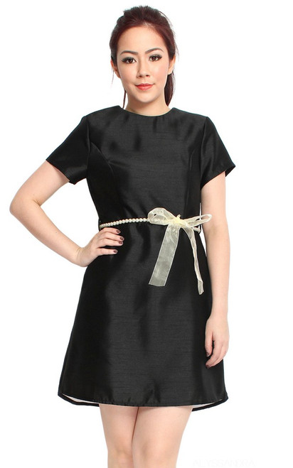 Pearl Belted Dip Hem Dress