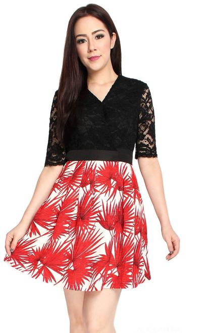 Lace Top Printed Wrap Dress