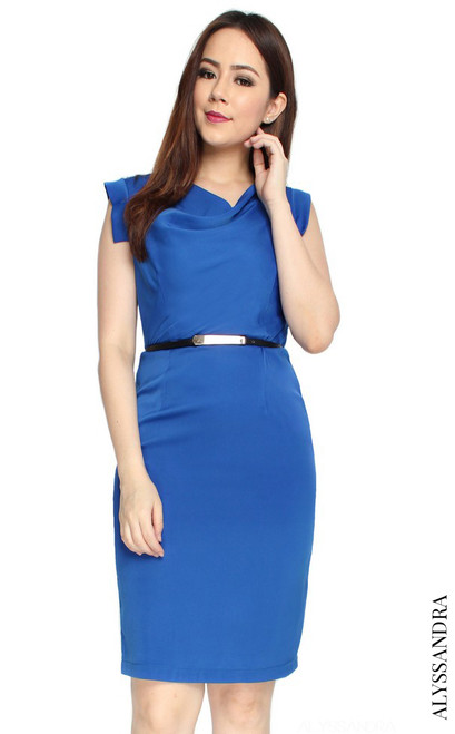 Draped Neckline Pencil Dress - Blue