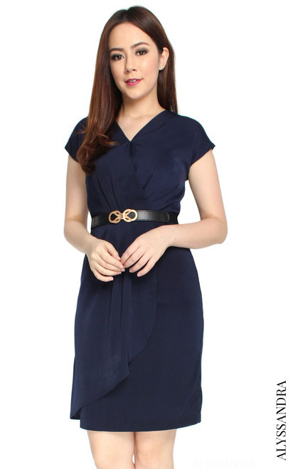 Pleated Overlap Dress - Midnight Blue