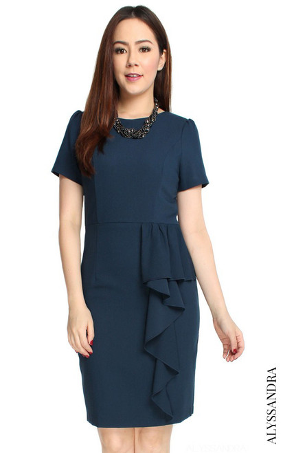 Waterfall Pencil Dress - Navy