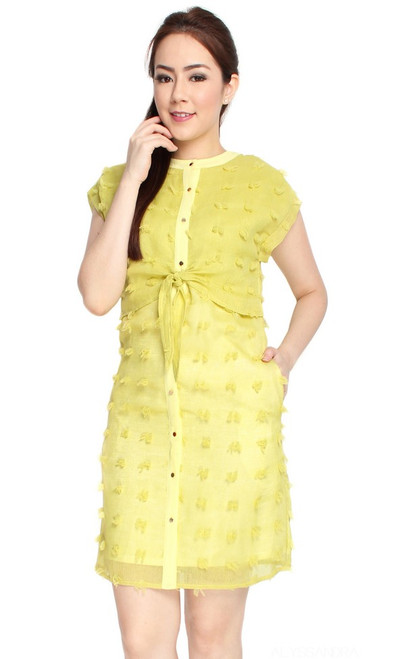 Lime Tie Front Dress