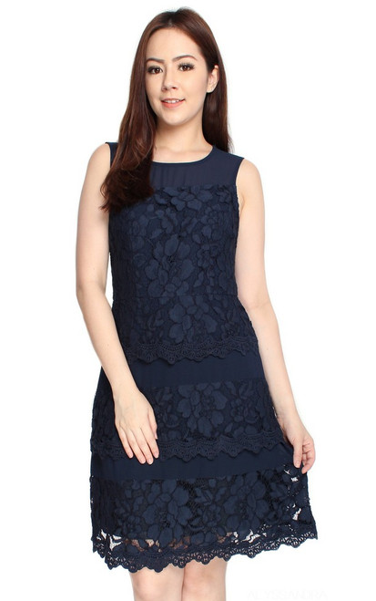 Lace Tiered Dress - Navy