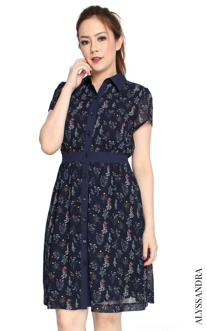 Floral Print Shirt Dress - Navy
