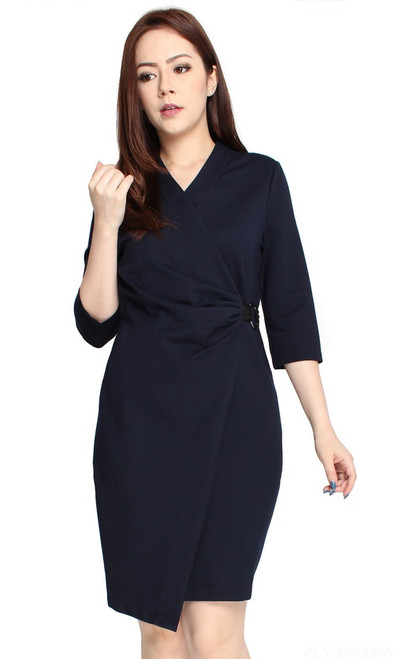 Ruched Faux Wrap Dress