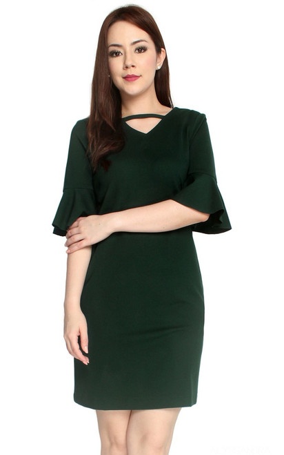 Trumpet Sleeves Dress - Forest Green