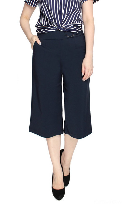 Side Buckle Culottes - Navy