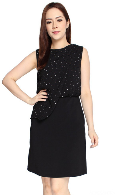 Polka Dot Draped Dress