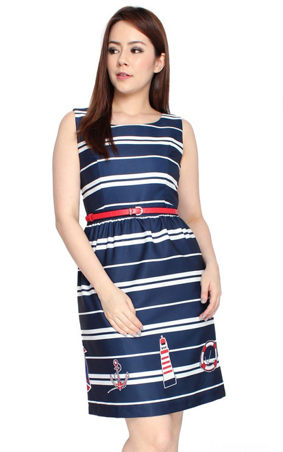 Nautical Print Dress