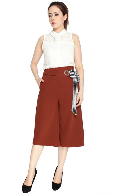 Side Tie Culottes - Chestnut