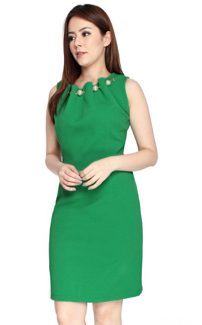 Pearl Neck Sheath Dress - Emerald