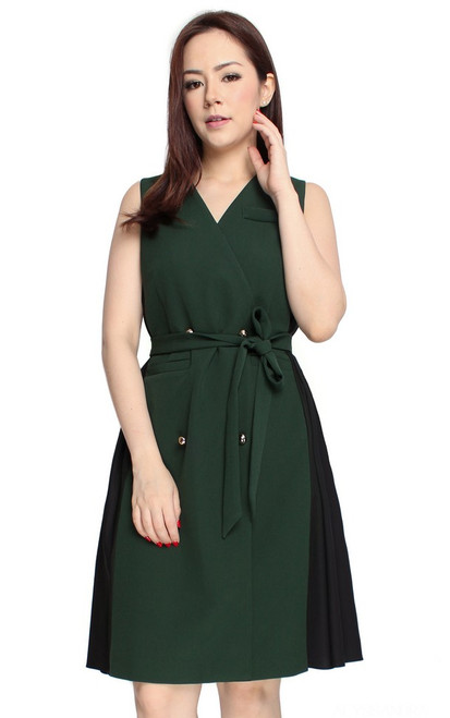 Duo Fabric Trench Dress