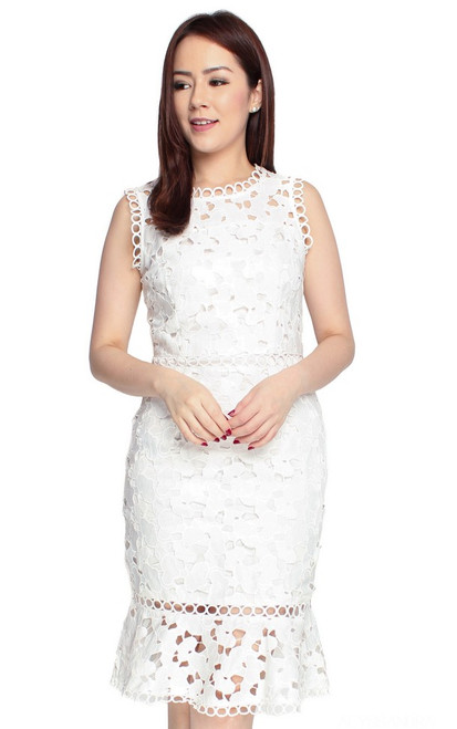 Guipure Lace Dress - White