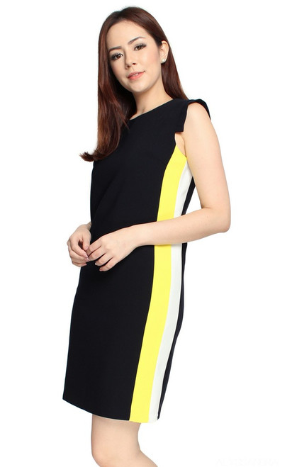 Contrast Sides Tab Sleeves Dress