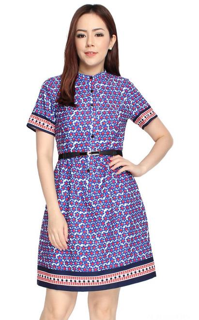 Floral Tile Dress - Blue