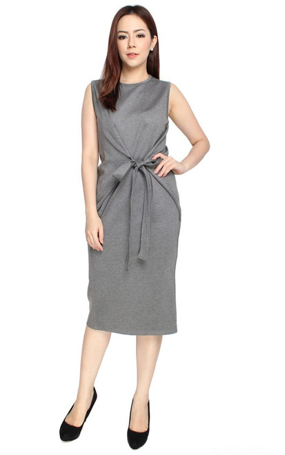 Tie Front Dress - Heather Grey