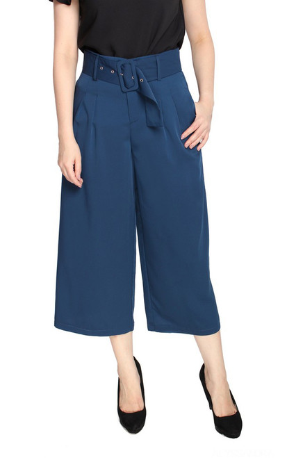 Wide Leg Culottes - Navy