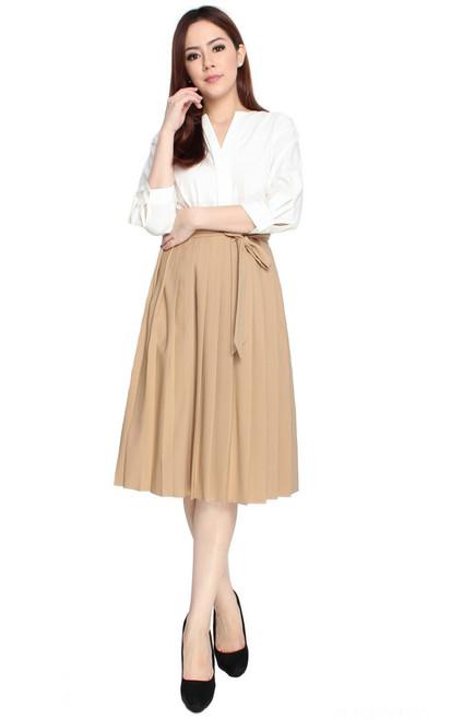 Pleated Paperbag Shirt Dress