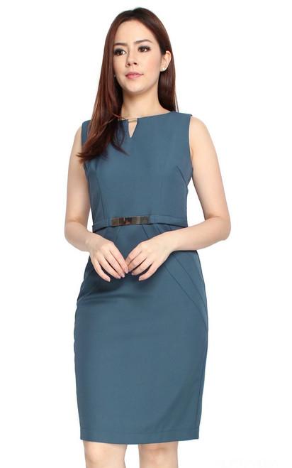 Keyhole Pencil Dress - Steel Blue