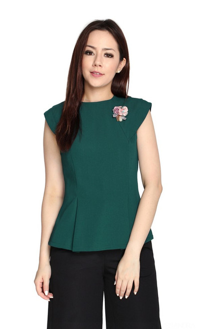 Structured Top - Forest Green