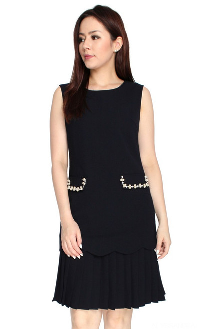 Embellished Pleated Drop Waist Dress